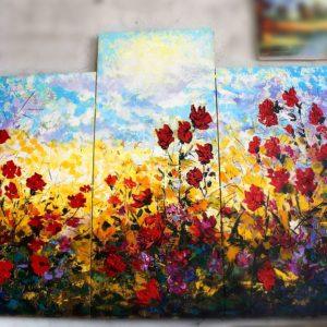 """Картина Мераб Кочиев триптих """"Полевые цветы"""""""