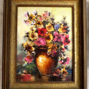"""Картина Мераб Кочиев натюрморт """"Цветы в горшке"""""""